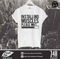 Installing Muscles T Shirt Gym Body Diet Superman Batman Workout Loading Hulk