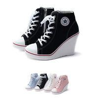 Womens High Heel 10cm Canvas Wedge Sneakers Casual Hi-Top Shoes Boots Korea kpop
