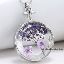 Hot Xmas Gift For Her - Purple Flower Necklace Silver Girlfriend Love Wife Women