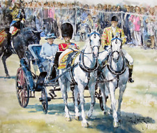"RARE ORIGINAL GORDON KING  ""Trooping of the Colour"" Queen Elizabeth II PAINTING"
