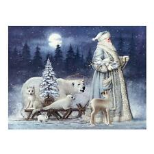 Handmade 5D Diamond Painting Christmas Santa Claus Bear Snow Scene Embroidery