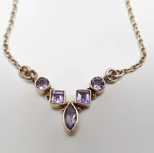 Sterling Silver Amethyst Bezel Set Necklace 15.5""
