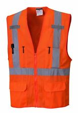 Portwest US370 Atlanta Hi Vis Mesh Safety Vest with Reflective Tape & 6 Pockets