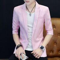 Men Slim fit One button Coat Tops Summer Casual Blazers Jacket Korean Lapel Chic