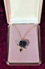Black Rose Pendant Necklace in Jewelry Box  - FREE SHIPPING