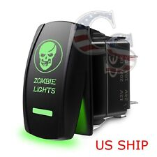 Green Laser Etched LED zombie 12V 20A 10A 5-pin Rocker Toggle Switch Car Marine