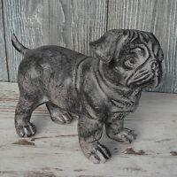Deko Mops grau antik 23cm Hundefigur stehend Tierfigur Polyresin Welpe Hund NEU