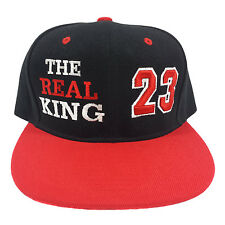 THE REAL KING 23 Embroidered Black/Red Snapback Hat Cap