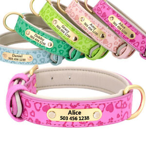 Soft Leather Dog Collars Personalized ID Name Tag Engraved for Small Large Dogs