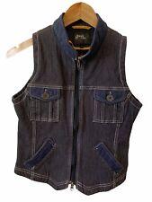 Goode Rider Blue Sleeveless Equestrian Vest Full Zip Corduroy Like Look Small