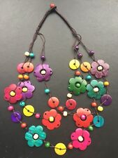 BOHO / LAGENLOOK 70'S VINTAGE STYLE WOODEN FLOWER STATEMENT NECKLACE - FREE POST
