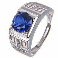 Natural Gemstone Men's Wedding Ring Sapphire Diamond Band Jewelry in 925 Silver