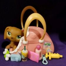Littlest Pet Shop Lps #139 Dachshund Dog with Green Eyes and Portable Carry Case