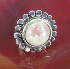 Ring Vintage Style Tibet Silver Flower Shell Pearl Brown White in Resin