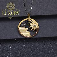 Natural Citrine Handmade 925 Sterling Silver Sunflower Goat Pendant Necklace
