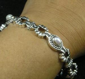 .925 Sterling Silver Domed Southwest Style Oval White Pearl Gemstone Bracelet