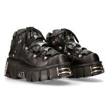 New Rock 106-S1 Unisex Metallic Black Gothic Classic Leather Biker Boots