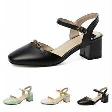 Women's Ankle Strap Block Heel Sandals Cut Out Closed Toe Court Shoes 3 Colors D