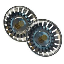 2x Kitchen Waste Stainless Steel Sink Strainer Plug Drain Stopper Filter Basket