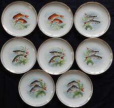 Porcelaine d'Aquitaine L.LOURIOUX LOT x8 Assiettes décor poisson (très bon état)
