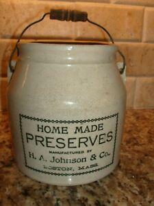 Crock Preserve Jar H A. Johnson & Co Boston Mass Original 1886 Patent NO RESERVE