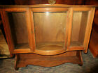 ANTIQUE+WALL+HUNG+OAK+WOOD+Display+Curio+Cabinet+Curved+BOW+Glass+Door+LOCK+NR