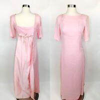Vtg 1960s Womens Pink Maxi Dress Satin Low Back Rose Bows Mod Hostess Sz 4/6?