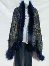 Yak+Sheep Wool Blend|Cape|Wrap|Handcrafted|Handloomed|Faux Fur|Navy / Light Blue