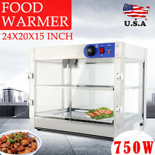 Commercial 24x20x15 Countertop 2-Tier Food Pizza Warmer Display Cabinet Case
