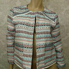 Jack BB Dakota Blazer Jacket Womens Size L Boxy Woven Open Front Southwestern