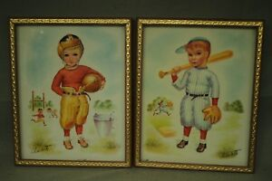 2 vintage old 3d sports prints little boy football player baseball player