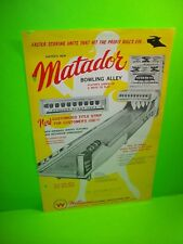 United Williams MATADOR 1964 Vintage Bowling Alley Arcade Game Flyer Large Size