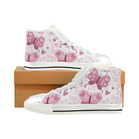 Butterfly High Top Canvas Shoes Pink Love Butterflies Women Shoes