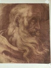 19th Century Drawing Red Watercolor Old Man With Beard