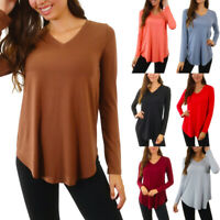 Womens Long Sleeve Loose Fit Top T Shirt V Neck Flowy Tunic Plus Size S M L XL
