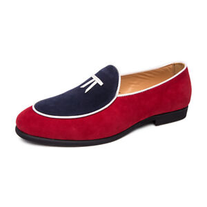 Men Low Top Faux Suede Shoes Round Toe Business Work Oxford Relaxed Slip On Flat