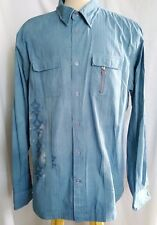 Guess Mens Blue Embroidered Button Down Long Sleeve Casual Shirt Size XXL