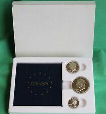 1976 3 Coin Set Silver PROOF Bi-Centennial 40% Box & COA Original $1 50c 25c