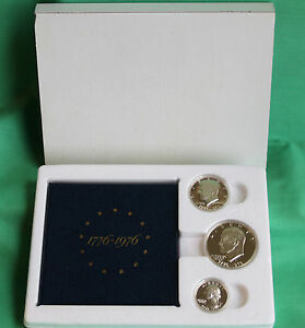1976 3 Coin Set Silver PROOF Bi-Centennial 40% Box and COA Original $1 50c 25c