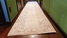 Bohemian Antique 1940's Distressed Wool Pile Natural Dye Oushak Runner 3x16ft
