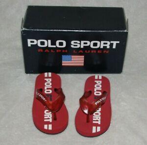 Polo Ralph Lauren Baby Toddler Thong Summer Sandals Red Logo 4 12-18 months NEW
