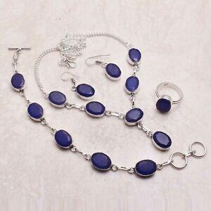 Blue Sapphire Gemstone Ethnic Handmade Christmas Gift Jewelry Sets L-1107