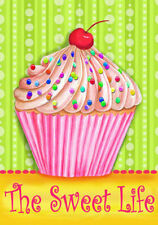 """CUPCAKE THE SWEET LIFE with SPRINKLES CHERRY PARTY YARD GARDEN FLAG 12"""" X 18"""""""