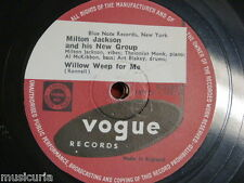 78 rpm MILT JACKSON & HIS NEW GROUP willow weep for me / criss cross V.2161