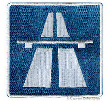 AUTOBAHN SIGN EMBROIDERED PATCH iron-on GERMANY NO SPEED LIMIT ROAD HIGHWAY new