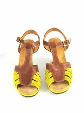 CHIE MIHARA Citron Brown Suede Leather Sandal Heel Pump Size 38