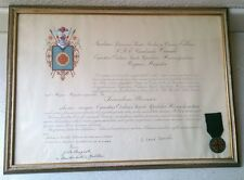 Medaglia ordine equestre del Santo sepolcro di Gerusalemme con diploma 1956