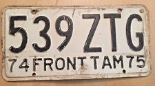 """1974 1975 FRONTIER TAMULIPAS  MEXICO LICENSE PLATE """" 539 ZTG """" TAM MEX  BORDER"""