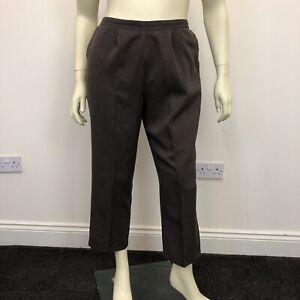 Bon Marche Ladies Brown Flat Front Tailored Slim Fit Trousers Pants UK Size 18