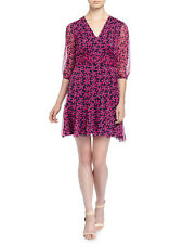 NWT Diane von Furstenberg Silk Petal Print A-Line Floral Check Rose Dress 14 NEW